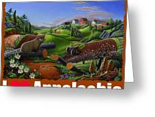 I Love Appalachia T Shirt - Spring Groundhog - Country Farm Landscape Greeting Card