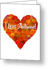 I Love Autumn Red Aspen Leaf Heart 1 Greeting Card
