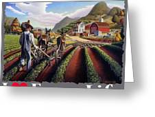 I Love Farm Life Shirt - Farmer Cultivating Peas - Rural Farm Landscape Greeting Card
