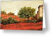 I Papaveri Sulla Collina Greeting Card