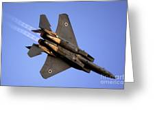 Iaf F15i Fighter Jet On Blue Sky Greeting Card