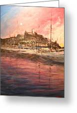 Ibiza Old Town At Sunset Greeting Card