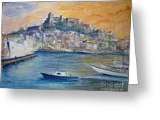 Ibiza Old Town Marina And Port Greeting Card