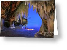 Ice Cave Setting Full Moon Serenity Greeting Card