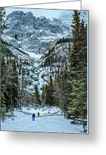 Ice Climbers Approaching Professor Falls Rated Wi4 In Banff Nati Greeting Card