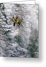 Ice Climbing In The South Fork Valley Greeting Card by Bobby Model