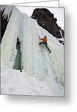 Ice Climbing Mummy II In Haylite Canyon Near Bozeman Greeting Card