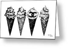 Ice Cream Black ,chanel Greeting Card