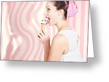 Ice Cream Pin-up Poster Girl Licking Waffle Cone Greeting Card