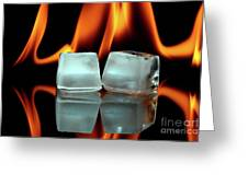 Ice Cubes On Fire Greeting Card