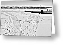 Ice Fishing On Lake Michigan Greeting Card