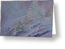 Ice Fog In The Forest Greeting Card