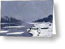 Ice On The Seine At Bougival Greeting Card