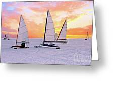 Ice Sailing On The Gouwzee In The Countryside From The Netherlan Greeting Card