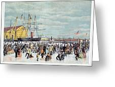 Ice Skaters, C1856 Greeting Card