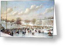 Ice Skating, 1865 Greeting Card