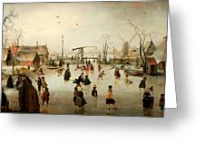 Ice Skating In A Village Greeting Card