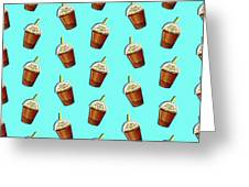 Iced Coffee To Go Pattern Greeting Card