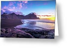 Iceland Beach Sunrise At Stokksnes Greeting Card