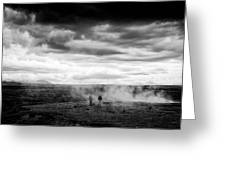 Iceland Black And White Landscape Haukadalur Greeting Card