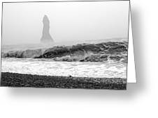 Iceland Black Sand Beach Wave Two Greeting Card
