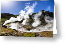 Iceland Geothermal Area With Steam From Hot Springs Greeting Card