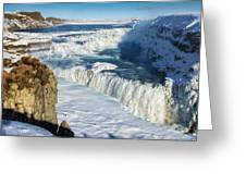 Iceland Gullfoss Waterfall In Winter With Snow Greeting Card