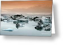 Iceland, Jokulsarlon Glacial Lagoon , Icebergs Melting Greeting Card