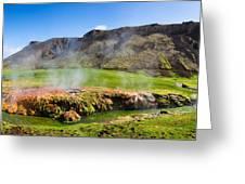 Iceland Landscape Panorama Wonderful Colors Greeting Card