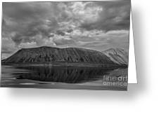 Iceland Mountain Reflections Bw Greeting Card