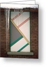 Icicles 3 - In Front Of Architectural Design Off Red Brick Bldg. Greeting Card