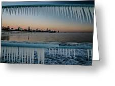 Icicles And Chicago Skyline Greeting Card