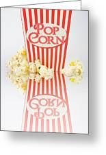 Iconic Striped Popcorn Carton Greeting Card