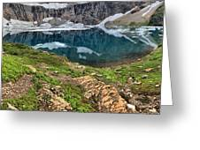 Icy Blue And Lush Green Greeting Card