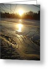 Icy Mississippi River Bank At Sunrise Greeting Card