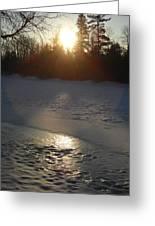 Icy Sunrise Reflection Greeting Card