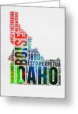 Idaho Watercolor Word Cloud  Greeting Card
