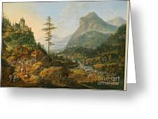 Idealized River Landscape With A Hunting Party Greeting Card