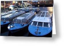 Idle Tour Boats -- Amsterdam In November Greeting Card