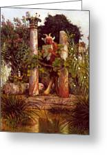 Idyll Pan Amidst Columns 1875 Greeting Card