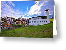 Idyllic Alpine Town Of Kastelruth On Green Hill View Greeting Card