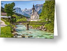 Idyllic Church In The Alps Greeting Card