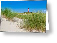 Idyllic Dunes And Lighthouse At North Sea Greeting Card