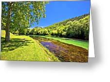Idyllic Krka River In Knin Landscape Greeting Card