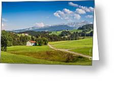 Idyllic Landscape In The Alps, Appenzellerland, Switzerland Greeting Card