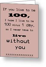 If You Live To Be 100 Greeting Card