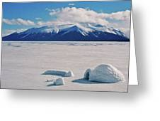 Igloo On Atlin Lake - Bc Greeting Card by Juergen Weiss