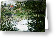 Ile De La Grande Jatte Through The Trees Greeting Card