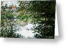 Ile De La Grande Jatte Through The Trees Greeting Card by Claude Monet