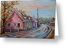 Iles D'orleans Quebec Village Scene Greeting Card
